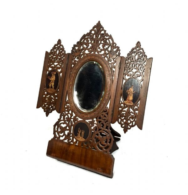 19th Century Antique Italian Sorrento Ware Fruitwood Oval Dressing Table Mirror